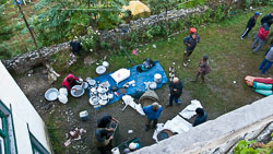 Courtyard of the Buddha Lodge,Lukla  Nepal: Here the courtyard is being used to organize an expedition.
