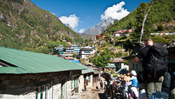 On the trail towards Everest: Small villages with trekker lodges are all along the trail.