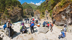Trekkers taking a break on the trail, Nepal: We paused before the next uphill stretch of trail along the Dudh Kosi.