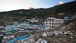 Namche Bazaar with the 'Hill Ten' Lodge on the right: We stayed here for two days.  'Hill Ten' is not a play on Hilton hotels but is a honorary reference to Hillary and Tenzing by the Sherpa owners.