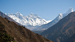 First View of Everest: We were on an acclimatization hike above Namche Bazaar when we glimpsed our first view of Everest.