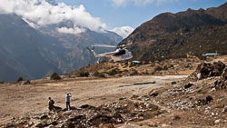 Helicopter arriving at Syanboche Airport, Nepal .