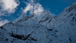 Teng Kanpoche after a snowstorm: This peak towers above Thame at 21,325'.