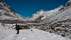 On the trail to Lungdung, Nepal: It had snowed overnight and not much was melting.