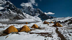High Camp at Renjo Tsho: This camp at 15,100' was the starting point for crossing the Renjo La pass at 17,772'