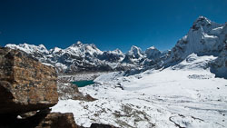 First view from the Renjo La, Nepal:  Everest is in the distance and Gokyo Lake far below us.