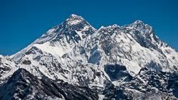 Everest from the Renjo La: Lhotse is on the right, with the Nuptse ridge in the foreground.