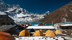 Our camp at Gokyo Lake, Nepal: The Renjo La is in the background.