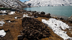 'Firewood' at Gokyo Lake: Since actual wood is very scarce, most fires are actually fueled by dried yak dung.