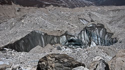 The Ngozumba Glacier, Nepal: The glacier was covered with loose rocks and occasionally huge crevasses were visible.