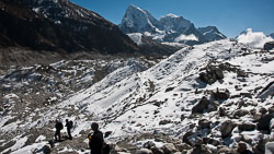 On the trail over the Ngozumba Glacier, Nepal: Our trail went right over the scree on top of the glacier, making for a difficult path.