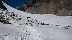Coming down from the Cho La: This glacier was actually covered in snow instead of loose rock and scree.