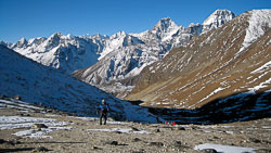 Climbing the Cho La Pass, Nepal: We are approaching a false summit below the true pass.  We dropped 800 feet and ultimately gained another 1500 feet to reach the pass at 17.580'.