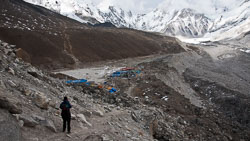 Arrival at Gorak Shep : Gorak Shep is the last chance for lodging and food before reaching Everest Base Camp, in the distance at the upper right.